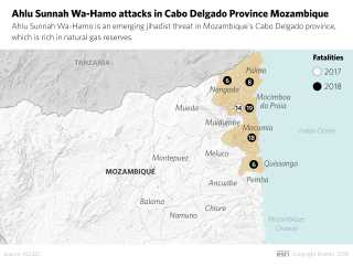 A map indicating the location of Ahlu Sunnah Wa-Hamo attacks in northern Mozambique.