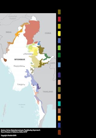 Areas of Ethnic Militant Activity in Myanmar