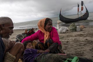 These Rohingya refugees are part of a mass exodus from Myanmar. The United Nations estimates that almost 400,000 of Myanmar's 1.1 million Rohingya have fled to Bangladesh since Myanmar's military began cracking down on the Muslim ethnic group after a militant attack on Aug. 25.