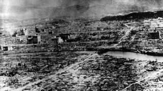 The city of Nagasaki, devastated by the atomic bomb, photographed on Aug. 9, 1945.