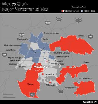 A Map of Mexico City's Major Narcomenudistas