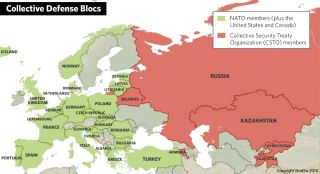 A centered on Europe and Eurasia showing collective defense blocs