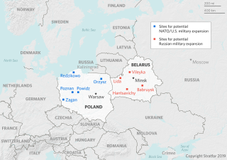 A map showing potentials sites of U.S. and Russian military expansion in Europe.
