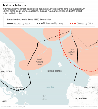 Indonesia's northernmost island group has an exclusive economic zone that overlaps with China's broad South China Sea claims. The East Natuna natural gas field is the largest untapped field in Asia.