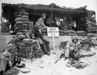 A U.S. Navy communications command post, set up at Normandy shortly after the initial landing on D-Day, June 1944.