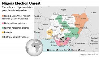 A map of security threats in Nigeria.