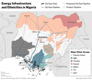 A map showing ethnicities and energy infrastructure in Nigeria.