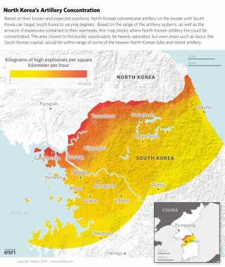 The concentrations and reach of North Korean artillery