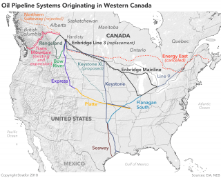 A Map Showing Oil Pipeline Systems Originating in Western Canada