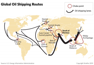 A map showing global oil shipping routes.