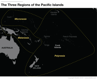Map of Micronesia, Melanesia and Polynesia