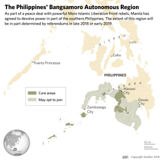 A map showing the Philippines' Bangsamoro Autonomous Region in Muslim Mindanao.
