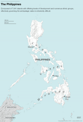 The Philippines can be divided roughly into three island clusters, each with distinct economic and cultural identities and internal ethnic fractures.