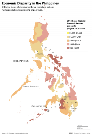 A map showing economic disparity in the Philippines.