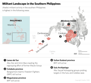 A map showing the militant landscape in the southern Philippines