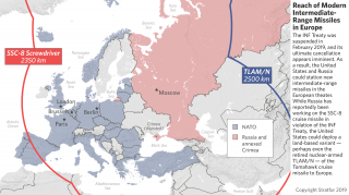 This map shows ranges of current nuclear-capable missiles in Europe and Eurasia