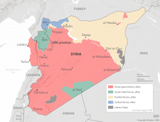 A map showing territorial holdings in the Syrian civil war.