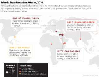 A map global map showing attacking by the Islamic State during Ramadan in 2016