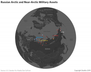 This map shows Russia's military bases in or near the Arctic.