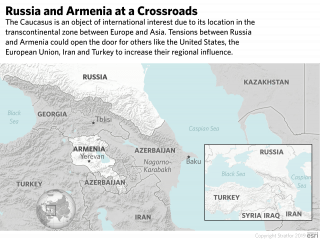 A map showing the location of Russia and Armenia in the Caucasus.