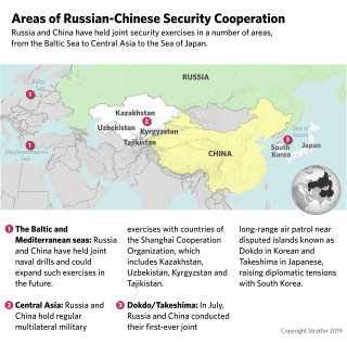 This map shows areas where Russia and China have conducted joint military exercises.