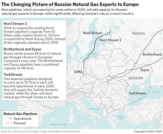 This map shows various pipeline routes from Russia to Europe.