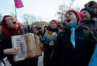 Russian feminists in St. Petersburg participate in a rally against violence toward women in 2018.