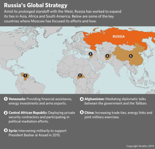 A map of key countries where Russia has recently expanded its ties.