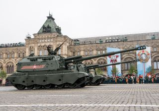 The Msta-S, pictured on Red Square, is a self-propelled version of the Msta Howitzer cannon, provides a mobile and survivable artillery capability that is able to keep pace with advancing forces.