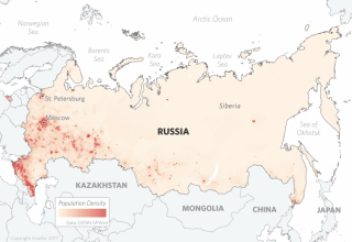 Population Density Map of Russia