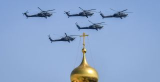 A dedicated attack helicopter and a successor to the Mi-24 series, the Mi-28 Havoc (pictured over Red Square during the May 7 rehearsal) is Russia's answer to the U.S. AH-64 Apache.
