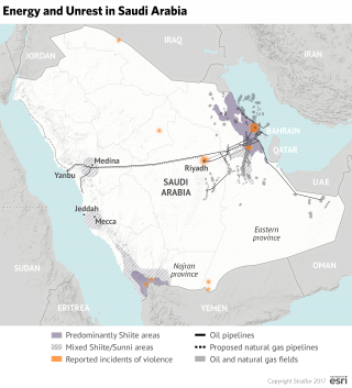 The majority of that oil lies in Eastern Province, where the demographic balance shifts in favor of the Shiites. The problem for Saudi Arabia is that it cannot be reasonably confident in its own military capabilities to defend those oil assets from interested parties in Tehran.