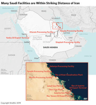 A map showing the location of several Saudi oil and gas facilities; many are within striking distance of Iran.