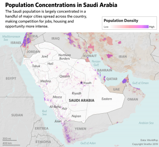 A map showing population concentrations in Saudi Arabia.