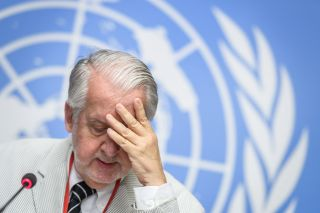 Chairman of the U.N. Commission of Inquiry on Syria, Paulo Sergio Pinheiro, reacts during a news conference to present the latest report on human rights violations on Sept. 12, 2018, in Geneva.