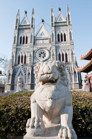 A Catholic church in Xicheng District, Beijing, China.