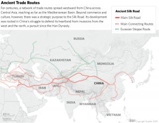 A map comparing the route of China's historic Silk Road with the modern Belt and Road Initiative