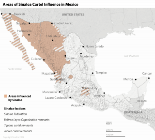 A map shows the areas influenced by the Sinaloa cartel and its factions.