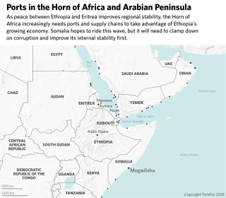 This map shows the position of ports in the wider Horn of Africa Region.