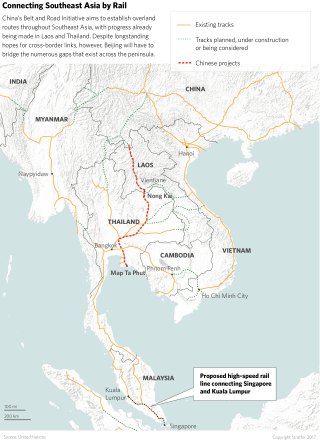Proposed and existing rail routes through Southeast Asia as part of China's Belt and Road Initiative