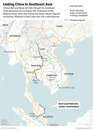 This map shows existing or planned rail links from China to Southeast Asia.