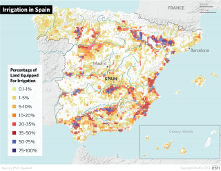Agriculture accounts for roughly 64 percent of all freshwater withdrawals in Spain. Irrigation is vital for Madrid's farming sector, since irrigated acreage accounts for a disproportionate amount of total production.