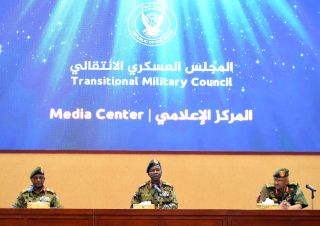 Sudan's Transitional Military Council speaks during a press conference in Khartoum on May 7, 2019.