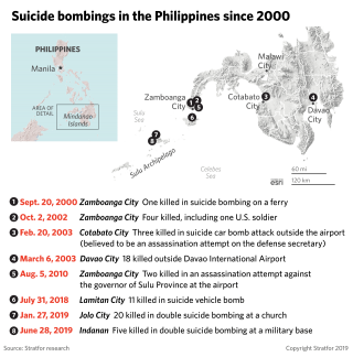 A map showing the location of suicide bombings in the Philippines since 2000.
