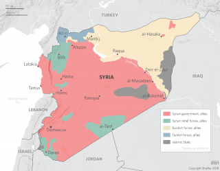 A map showing the Syrian battlefield.