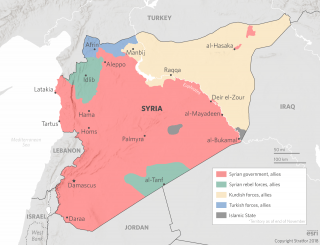 A map shows the areas of Syria under the control of government, rebel, Kurdish, Turkish and Islamic State forces.