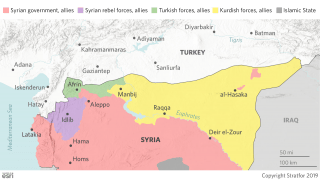 This map shows the areas of control of forces in Syria