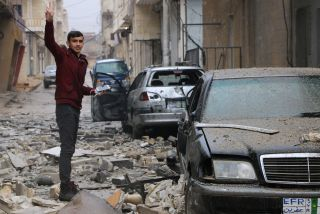 Parts of the Kurdish town of Jandairis in northern Afrin were badly damaged by fighting.