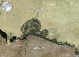 U.S.-backed SDF forces around Raqqa, Syria