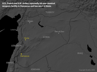 A map of Syria showing locations of chemical weapons facilities attacked by U.S., French and British forces.